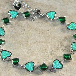 Jewelry - Green Fire Opal Heart Silver Bracelet